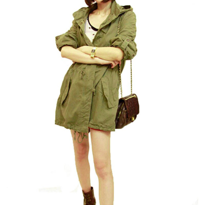 Women Winter Warm Army Green Military Parka Trench Hooded Coat ...