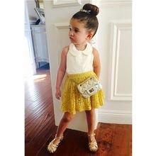 Baby Girls Princess Sleeveless Tops+Lace Mini Skirt