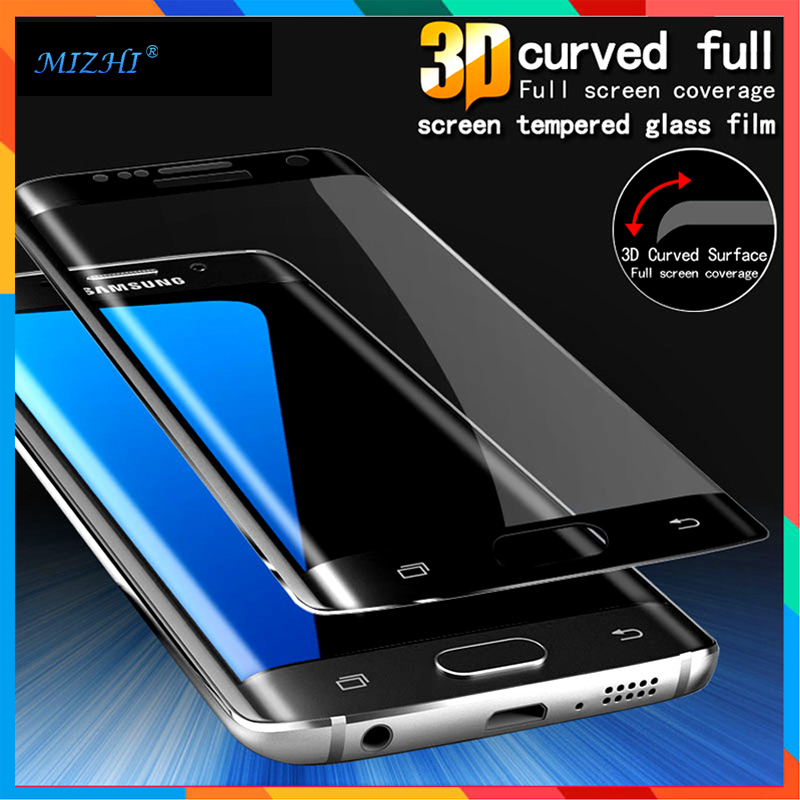3 d glass For Samsung Galaxy S7 Edge S6 S 6 Edge plus Curve Hole Round Shield Protective Film Phone Tempered Glass On S 7 edge +