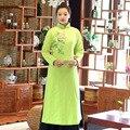 Riendo Buda Meditación Borde de La Original pintado a Mano Azul Té de Invierno Cheongsam Vestido Nuevo Vestido de Algodón de Las Mujeres