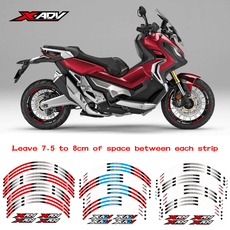 3 Color Motorcycle Tire 1set Front&Rear Edge Outer Rim Sticker Wheel Decals Reflective For Honda XADV 2017 2018