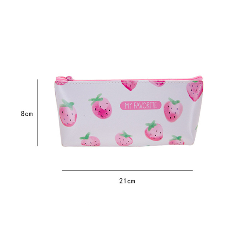 10Pcs lot Lovely Strawberry Leather Pencil Bag Student Large Capacity Storage Bag Stationery Office School Supplies in Pencil Bags from Office School Supplies
