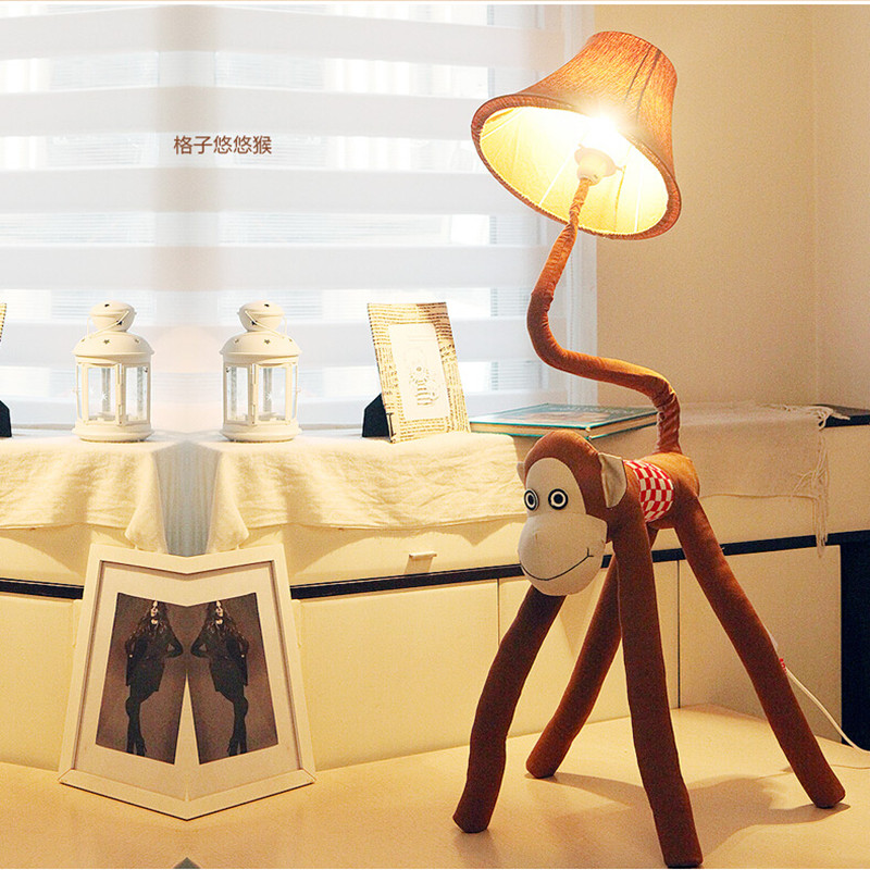 New Cottage Fabric Monkey LED E27 Child Floor Lamp Cartoon Bedside ...