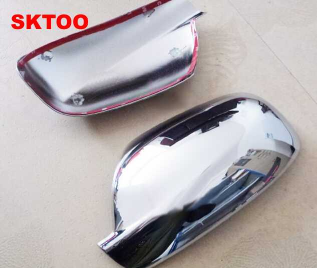 SKTOO For 2004-2012 Peugeot 307 CC SW 407 Door Side Wing Mirror Chrome Cover Rear View Cap Accessories 2pcs Per Set Car Stying