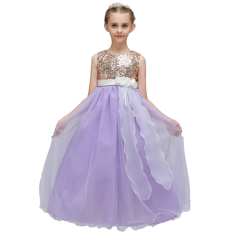 Kids Girls Party Dresses Sleeveless Sequins Princess Ball Gown Long Maxi Fancy Tulle Wedding Formal Teens Girl Dress Costume pretty baby girls kids princess party denim tulle stitching gown fancy dress 3 8y