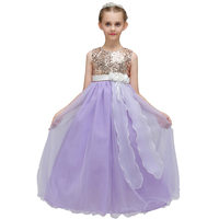 Kids Girls Party Dresses Sleeveless Sequins Princess Ball Gown Long Maxi Fancy Tulle Wedding Formal Teens