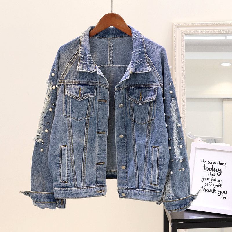 Spring Autumn Beading Jeans   Jacket   Women 2019 Loose vintage Denim   Jackets   Women New Fashion   Basic   Jeans   Jacket   Big size Outwear