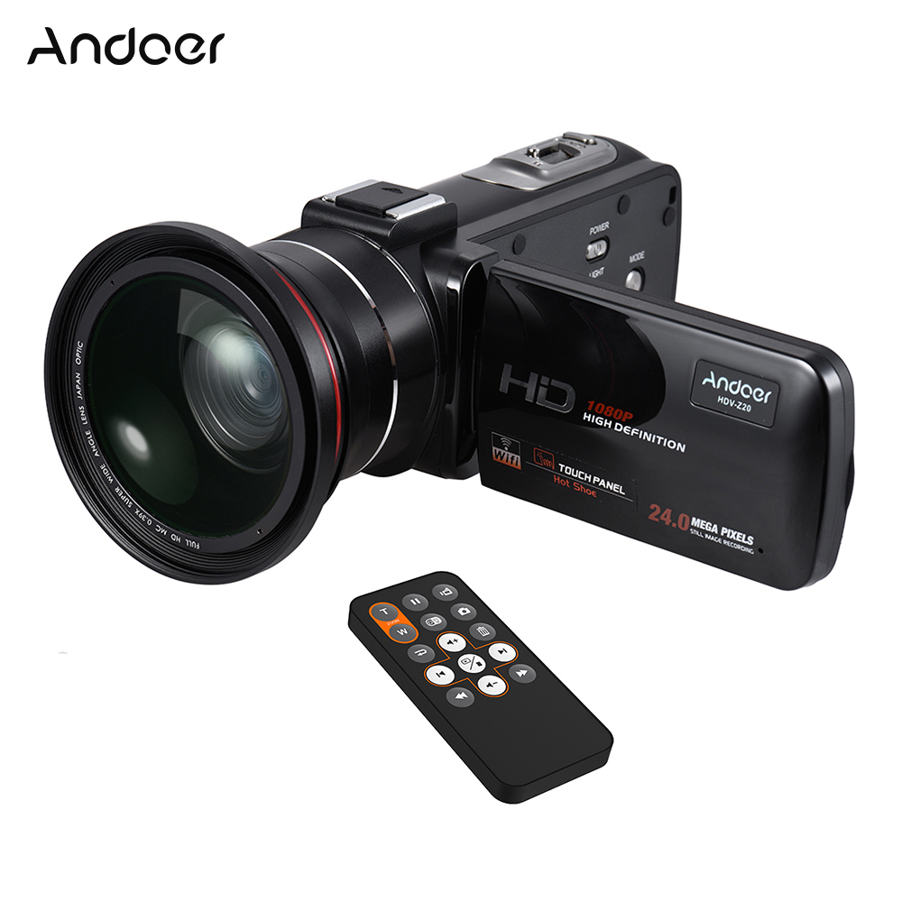 Andoer HDV-Z20 1080P Full HD 24MP WiFi Digital Video Camera Camcorder with 0.39X Wide Angle + Macro Lens LCD Touchscreen
