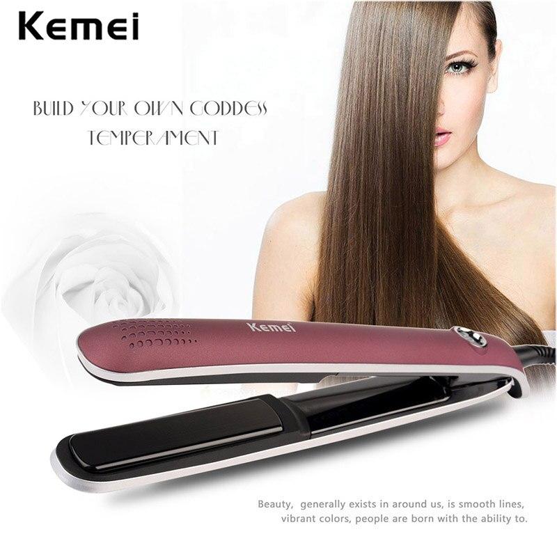 Kemei KM-2203 Straightening Irons 3D Floating Panel Hair Curling Iron EU Plug Electric Hair Straightener Flat Iron Hair Curler цена