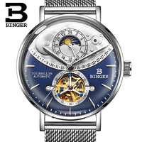Schweiz Automatische Uhr Männer BINGER Skeleton Mechanische Männer Uhren Voller Stahl Sapphire Relogio Masculino Wasserdicht Blau-in Mechanische Uhren aus Uhren bei