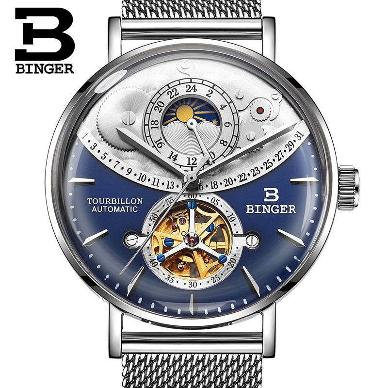 Switzerland Automatic Watch Men BINGER Skeleton Mechanical Men Watches Full Steel Sapphire Relogio Masculino Waterproof Blue