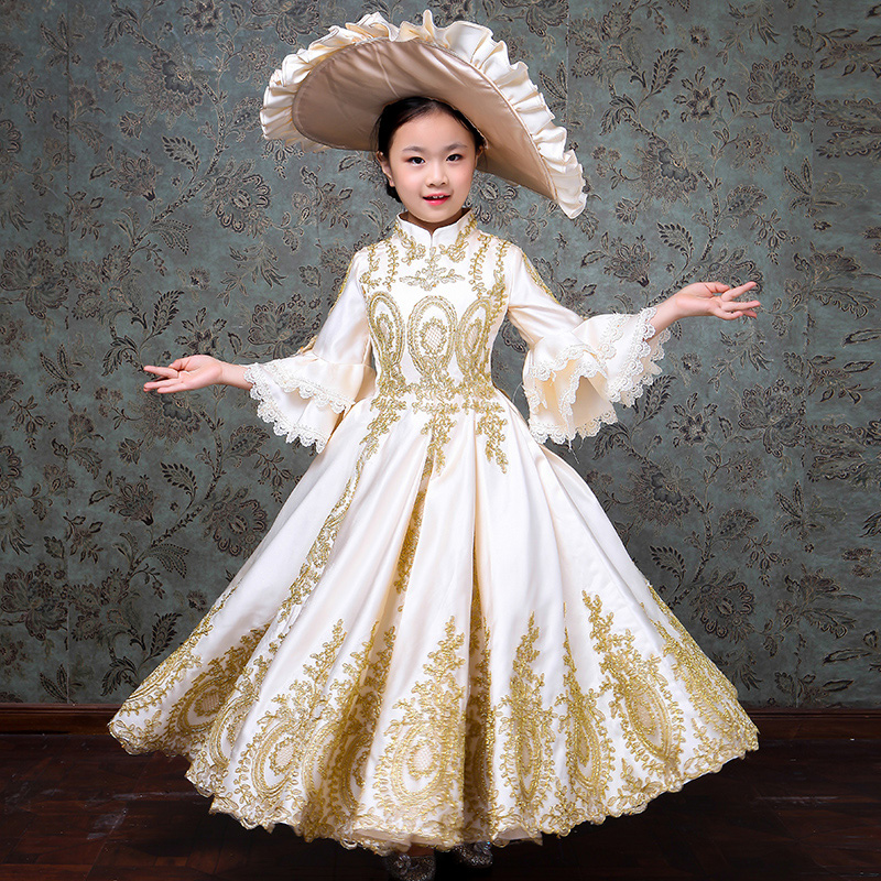 8ee2755f1943 Customized 2018 White Children Evening Party Dresses Medieval Gold Appliques  Birthday Party Ball Gowns Costumes-in Dresses from Women's Clothing on ...
