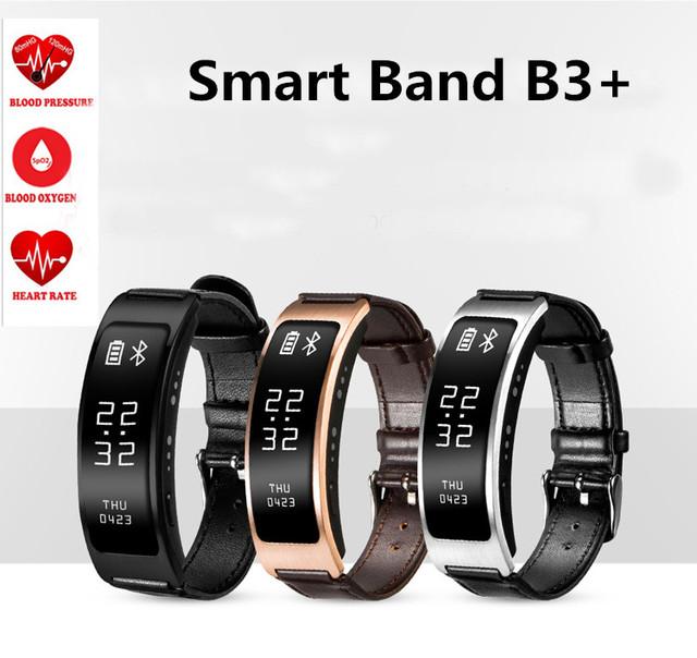 2016 original b3 + pulsera inteligente podómetro del ritmo cardíaco banda de la presión arterial de oxígeno de conversación bluetooth reloj smartband que huawei b3
