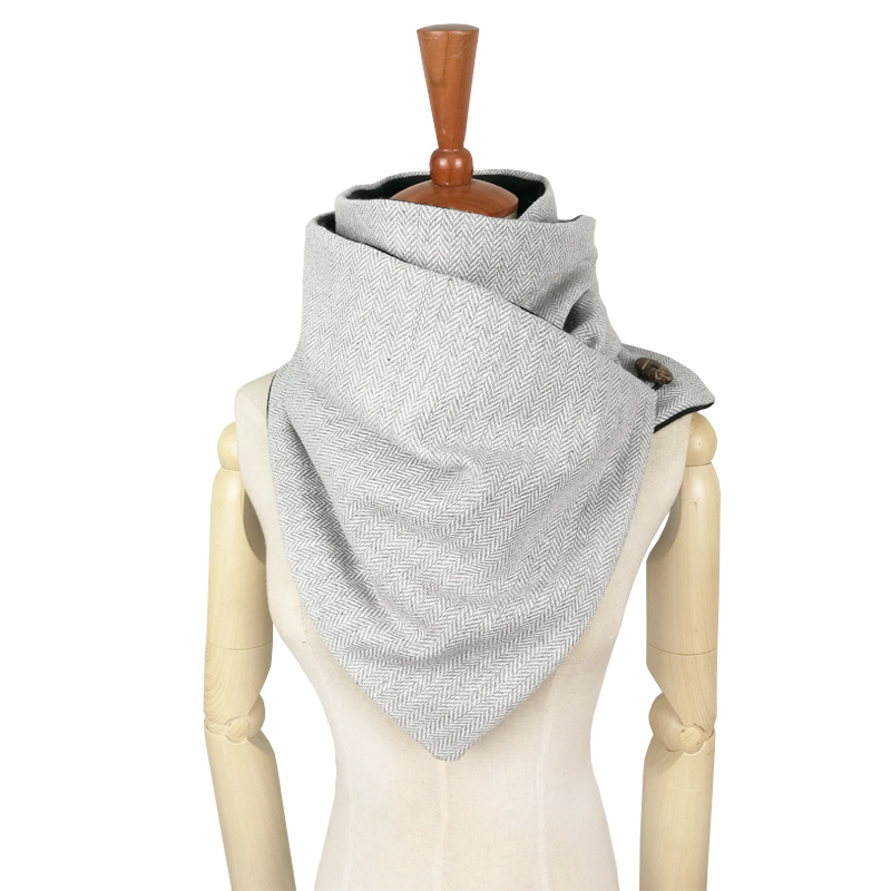 Couverture Designer Fashion Winter Warm Men Button Scarf Wool Cotton Unisex Herringbone Chevron Ring Scarf Women Infinity Scarf