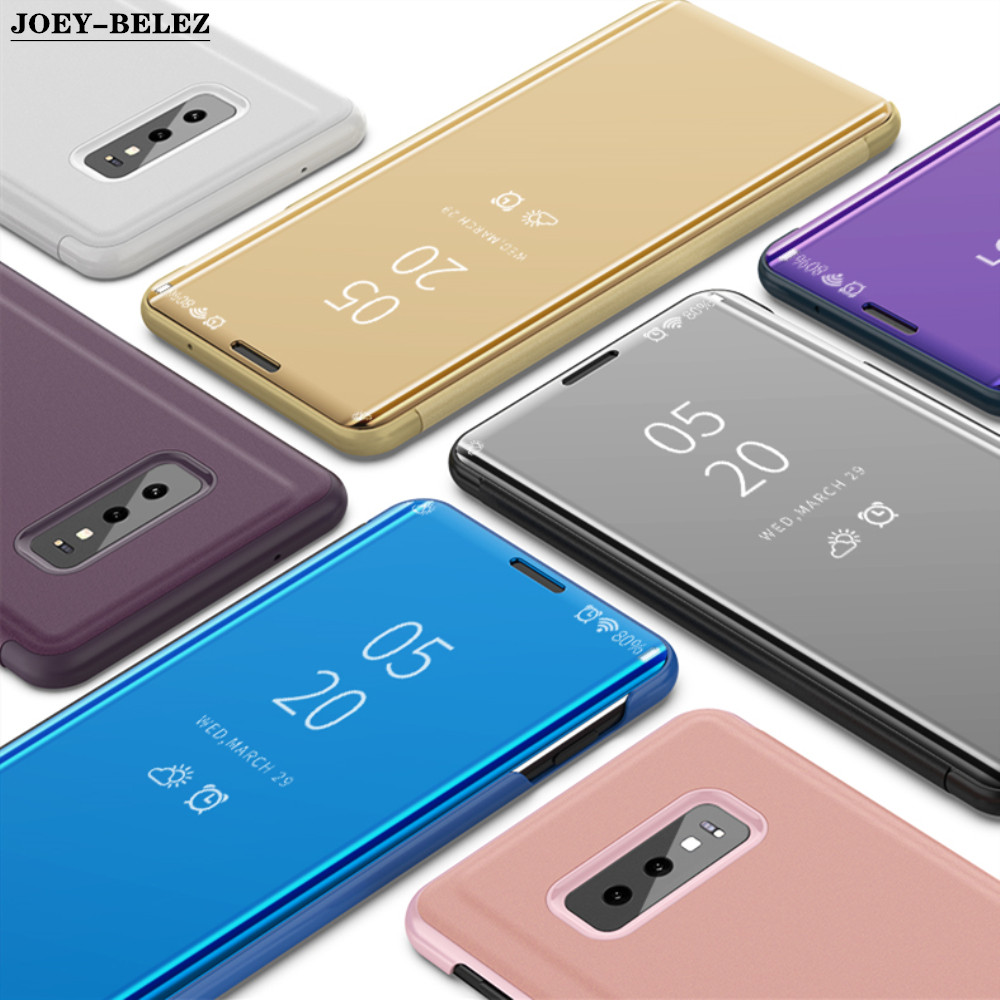 Clear View Smart Flip Case For Samsung Galaxy S10 Lite S9 S8 Plus S7 S6 Edge Note 9 8 J5 J7 A5 A7 2017 J4 J6 A7 2018 Mirror Case