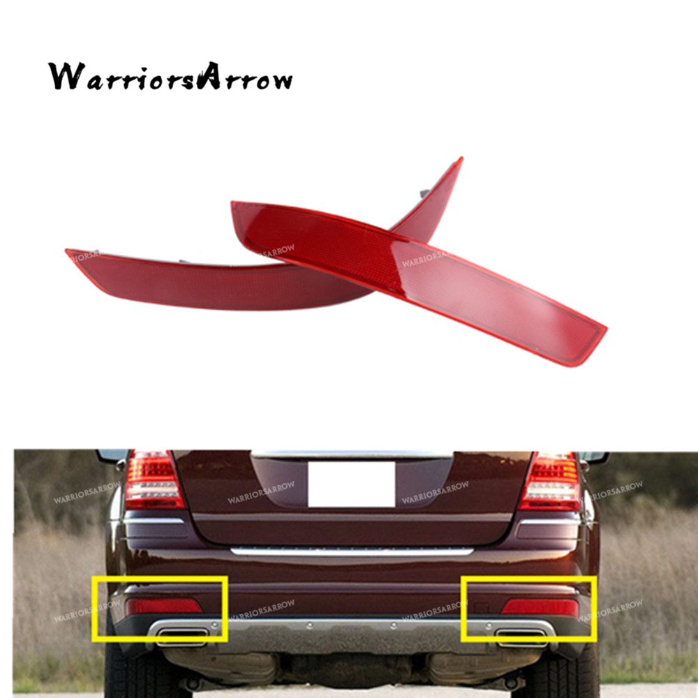 Pair Rear Left Right Bumper Reflector Warning Light Red For Mercedes Benz W164 GL350 GL450 GL550