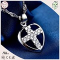 Good Quality And Cheap Price Cute  925 Sterling Silver Crossing  Heart Pendant