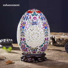Antique Jingdezhen Ceramic Vase Chinese Style Pierced Lucky Egg Vase Wedding Gifts Home Handicraft Furnishing Articles