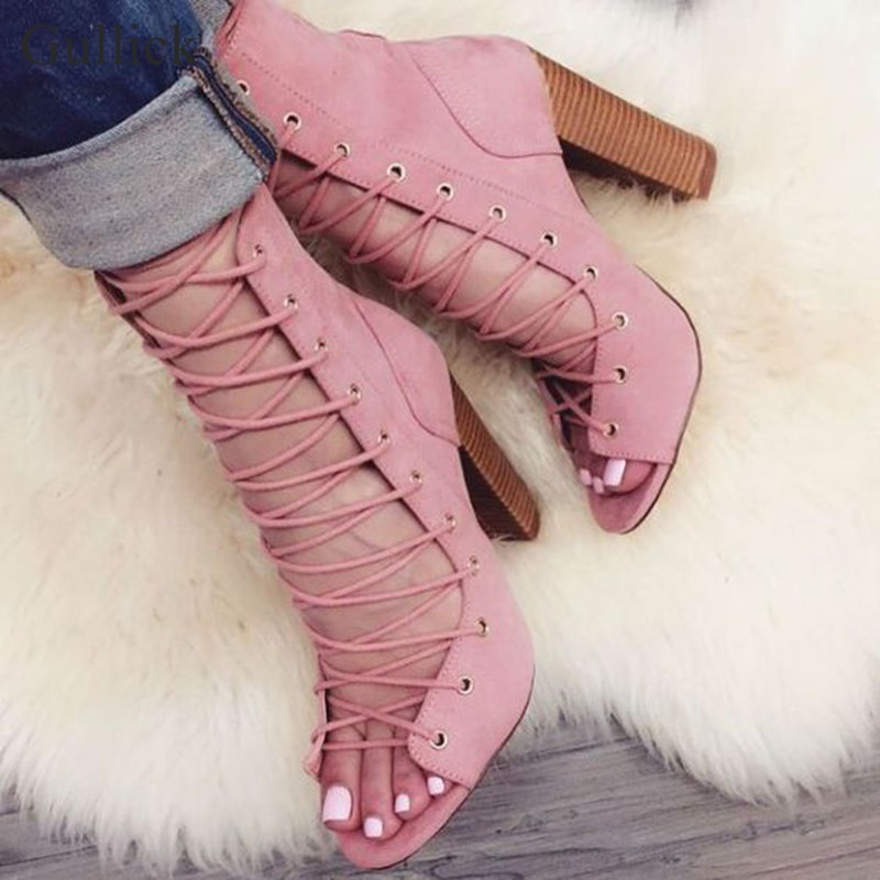 Gullick Peep Toe Lace-up Ankle Boot Cut-out Chunky Heel Gladiator Sandal Boots For Women Thick High Heels Boots Pink Black Beige gullick beige suede fringed high heel ankle boots open toe lace up ankle boots fashion tassel gladiator sandal boot womans