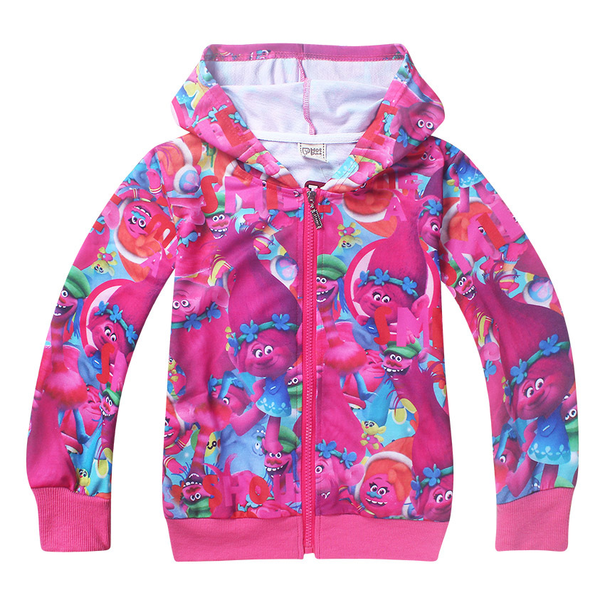 2018 New Spring Autumn Chidren girls clothing zipped Hoodies jacket Sweatshirts Trolls Long sleeves coat baby girls outwear