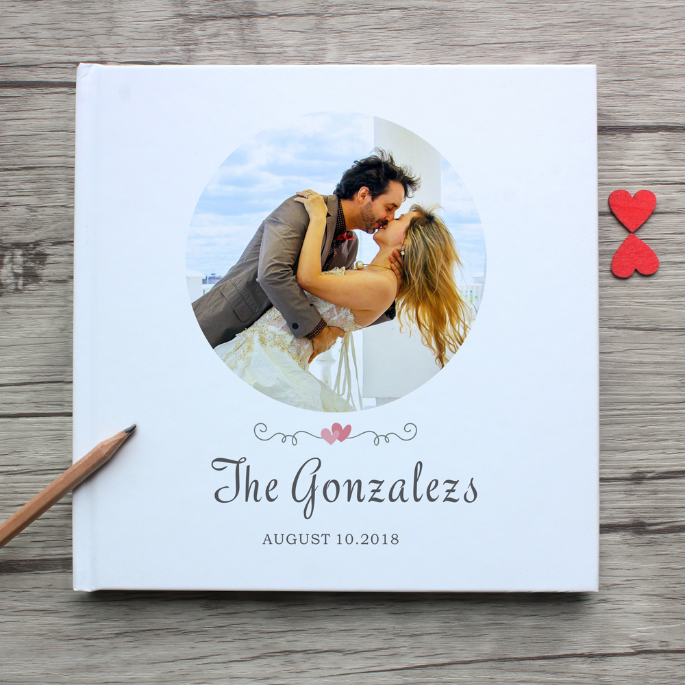 Personalized white wedding guest book,I love you forever,custom anniversary gift guestbook,personalized couple photo album sign
