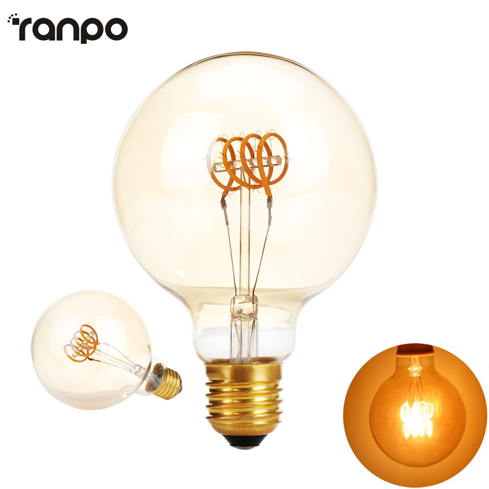 все цены на G95 Dimmable Golden Edison bulb led E27 AC 220V 4W Spiral Light Amber Retro Saving Lamp Vintage Filament Bulb Ampul Led Lamp