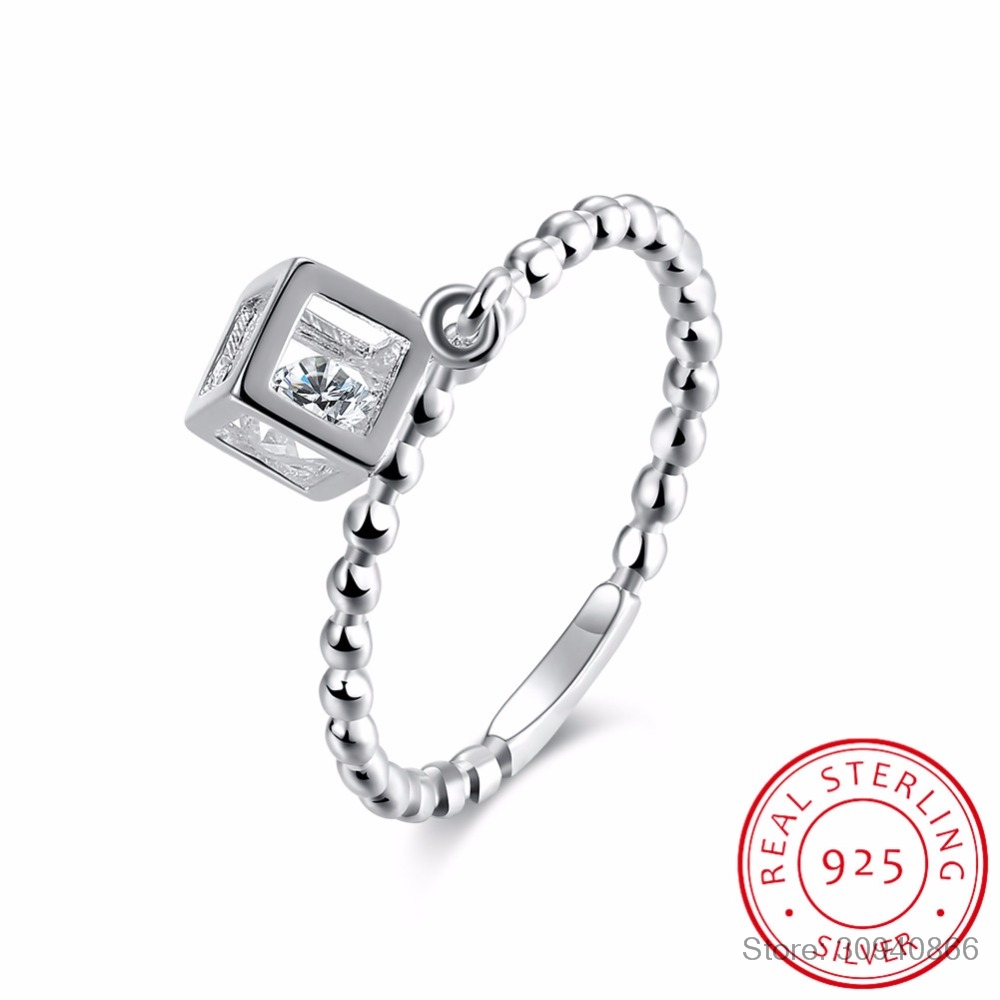 LEKANI High Quality 925 Sterling Silver Cube Zirconia Ring Square Wedding Ring Wholesale Women Fine Jewelry