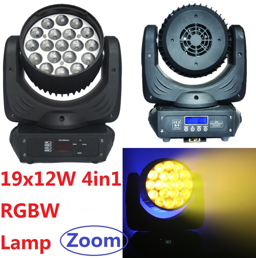 Newest RGBW 4-In-1 19x12W Zoom LED Moving Head Beam Wash Light Stage Effect DJ DMX Disco Luces Discoteca Strobe Party Lights