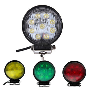 27W Round Led Driving Work Light with Yellow White Green Red Flood Spot Offroad for ATV  Truck 4x4 4WD Van 24V Tractor UTV Wagon