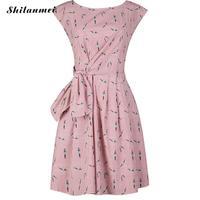 Summer Sweet Lovely Pink Bowknot Birds Print Skater Dress Sleeveless Party Robe Retro Swing Rockabilly Vestidos