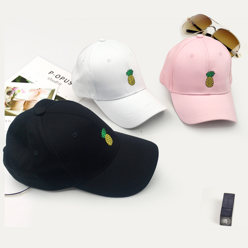 Men Women Pineapple Dad Hat Embroidered   Baseball     Cap   Cotton Style Unconstructed Fashion Unisex Dad   Cap   Hats Bone Garros