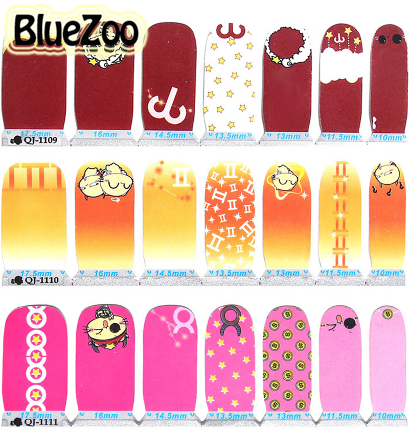 BlueZoo 12 Sheet Zodiac Cartoon Designs Nail Decal 3D Nail Art Water Transfer Sticker Decorations Beauty Tips Makeup Accessories nail art large piece yb529 540 12 designs in 1 cartoon pet hello kitty nail art water transfer sticker decal for nail