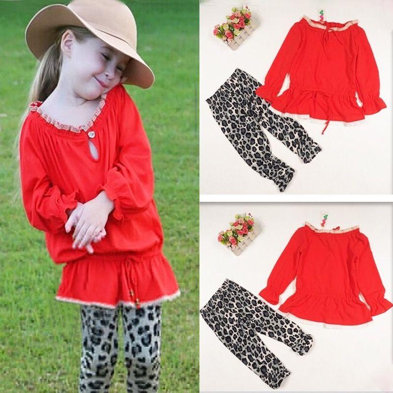 2pcs children set!!Cute Girls Cotton Long Sleeve Red Shirt Blouse+Long Leopard Pants For Age 2-7Y