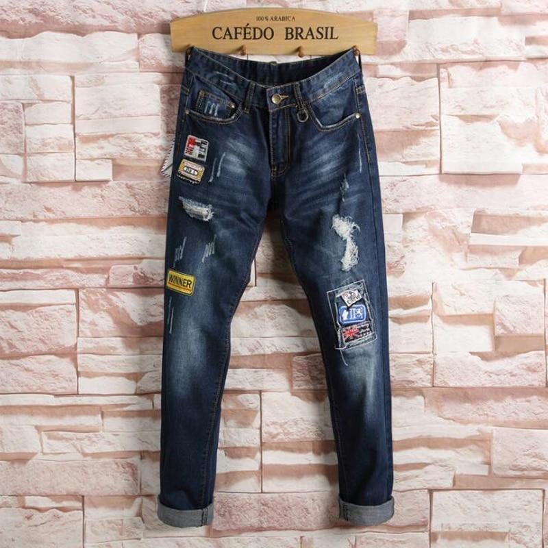 High Quality Men Jeans Brand Fashion Patchwork Patches Mens Denim Pants Ripped Trousers Men Vaqueros Hombre Cotton Jean Pans