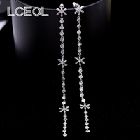 LCEOL Fashion Dangling Style Clear Cubic Zirconia Prong Setting 140mm Snowflake Drop Long Chain Earrings Trendy