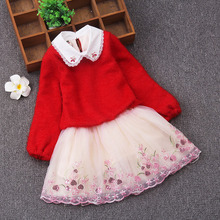 New Autumn and winter velvet Children's sweater princess dress Long sleeve Girls dress christmas children clothing 3-8 years nicbuy girl s autumn winter dress 2017 new children add velvet and lace princess fashion dress red blue