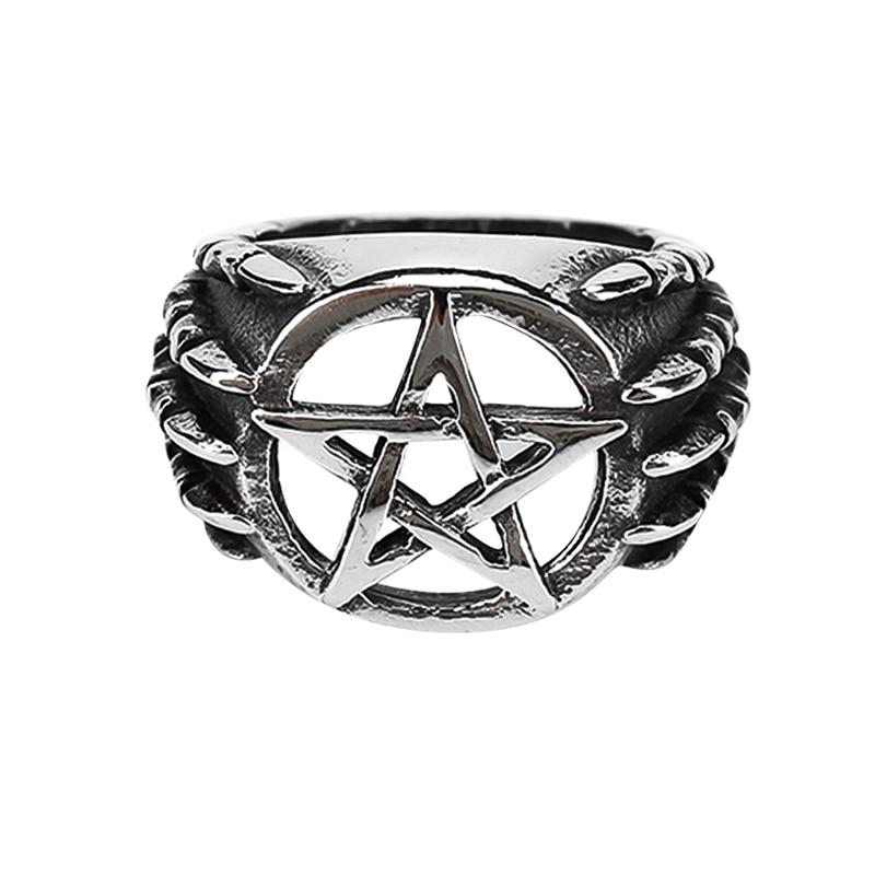 Vintage Hollow Pentagram Star Ring High Quality Titanium Steel Dragon Claw Men Ring Retro Punk Rock Biker Jewellry