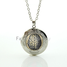Academic jewelry Human Anatomy Brain picture pendant Weird Cool Science locket necklace scholar keepsake student gift HH286