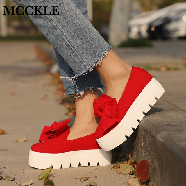 MCCKLE Women Creeper Fashion Autumn Bowtie Flat Platform Shoes For Woman Shallow Slip On Ladies Moccasins Flock Female Footwear
