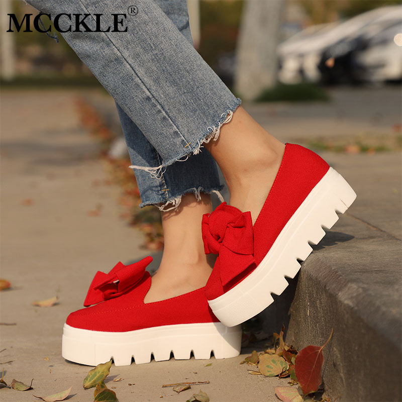 MCCKLE Women Creeper Fashion Spring Bowtie Flat Platform Ladies Shoes For Woman Shallow Slip On Flock Female Footwear Shoes coolcept female bowtie restore ancient ways slip on platform mid heels women s fashion style casual spring autumn lolita shoes