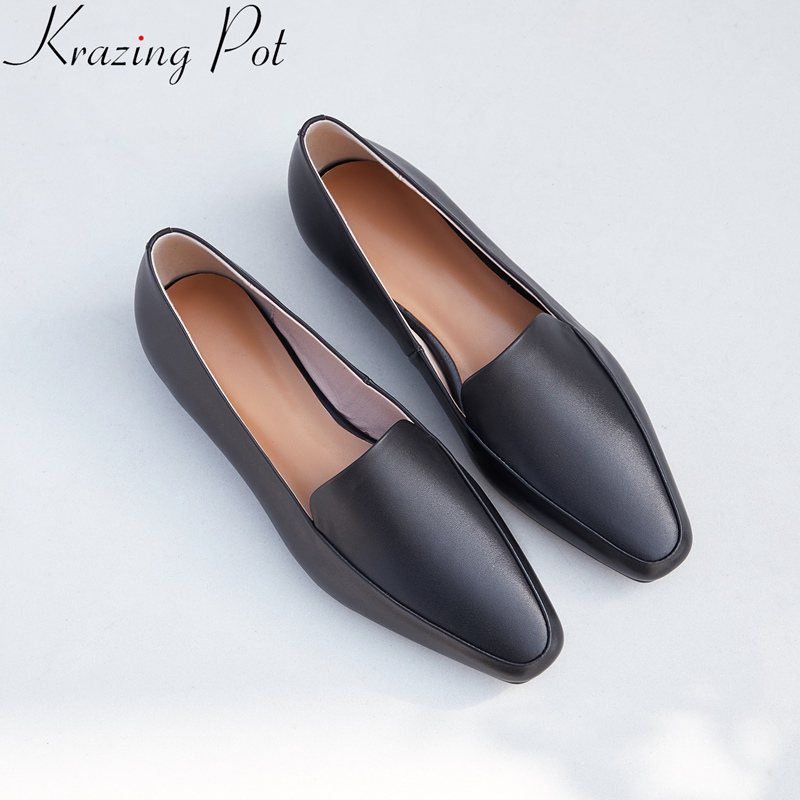 2019 Superstar Genuine Leather Slip On Square Toe Loafers Solid Women Flats Spring Sweet Concise Mature Brand Driving Shoes L05