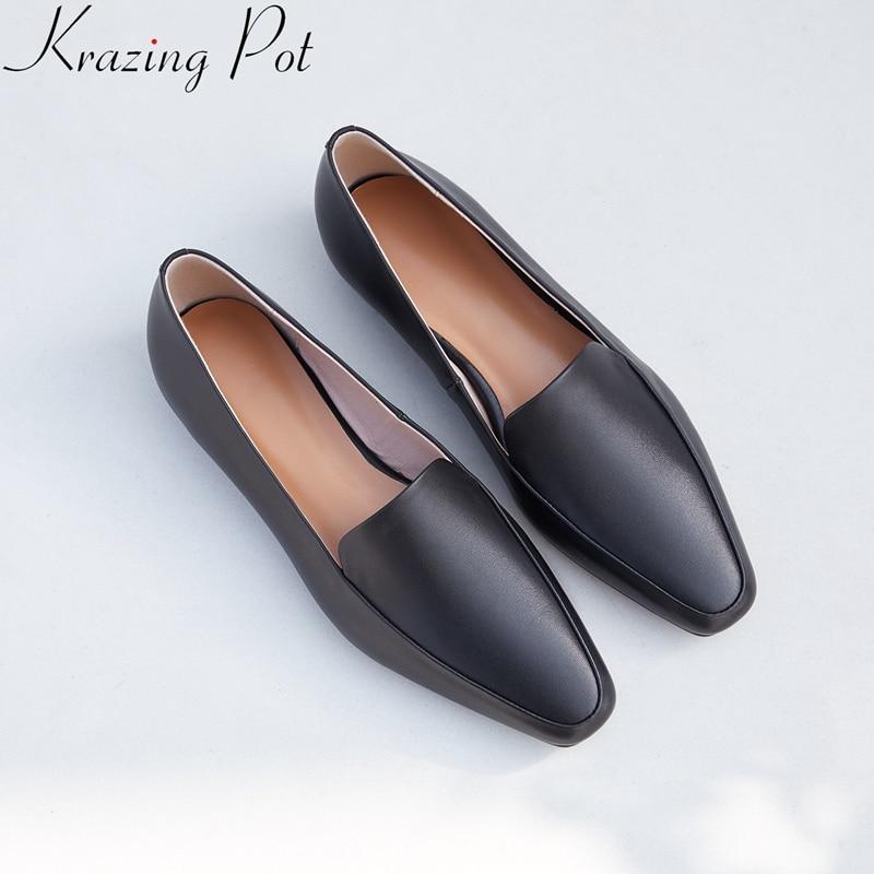 d8d09214572c3 Doux Conduite Cuir Femmes Concise Slip Matures 2019 Solide Marque Chaussures  Printemps Sur Bout Carré Appartements ...