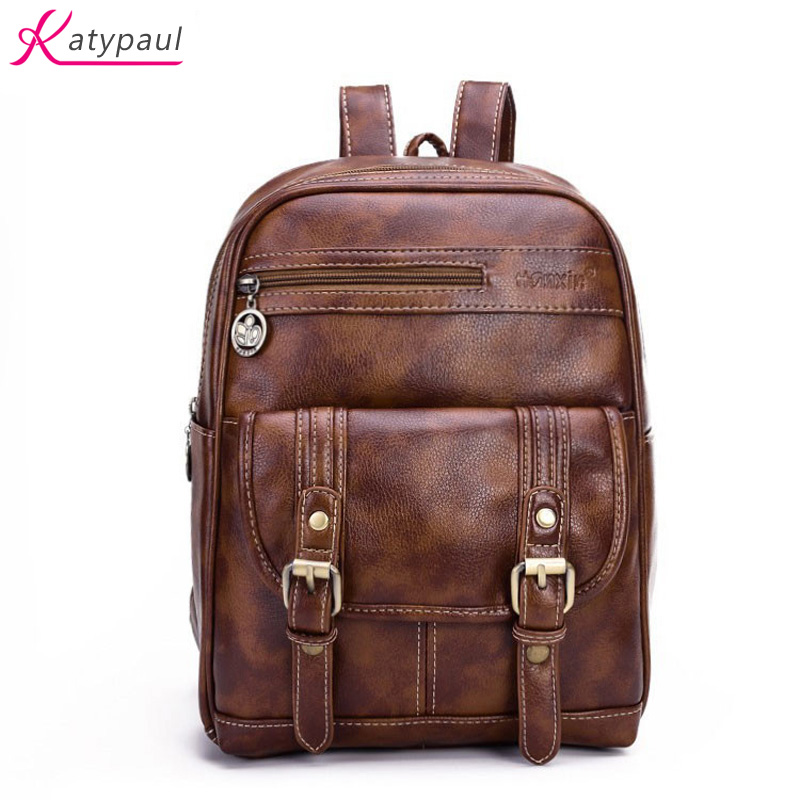 2017 Fashion Large School Bags Travel Backpacks Women Vintage Leather Backpack For Teenagers Girls Laptop Backpack Womens Mochil  womens fashion cute girls sequins backpack paillette leisure school bookbags leather backpack ladies school bags for teenagers