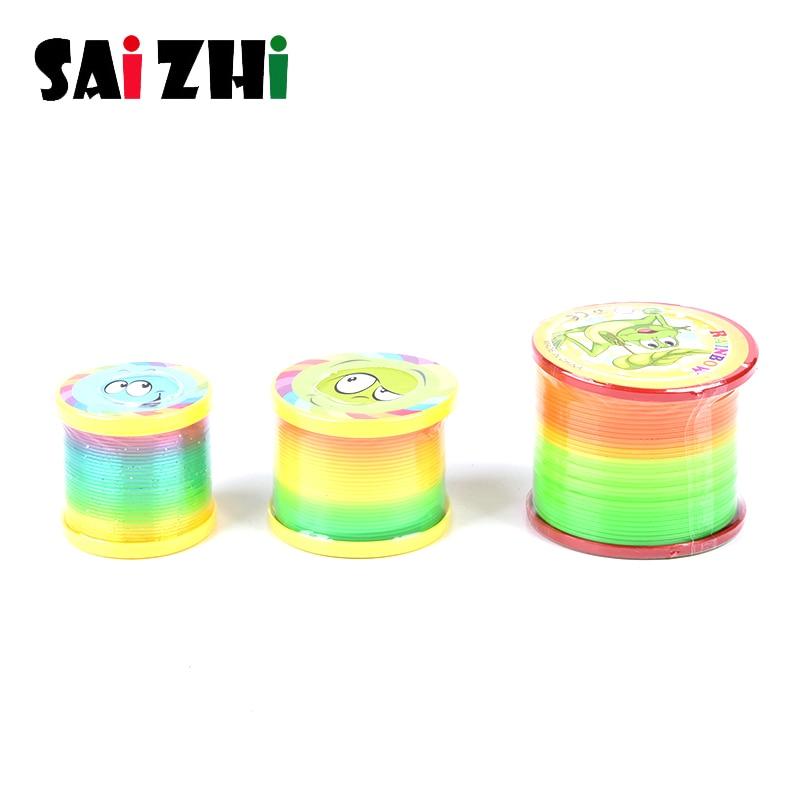 Saizhi Rainbow Fashion Toys Colorful Rainbow Circle Folding Plastic Spring Coil Children's Creative Educational Toys SZ2436