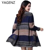 YAGENZ Autumn/winter New Women's Knit Cardigan Coat Plus size 4XL Korea Long sleeved Loose Sweater Lady Cardigan High Quality