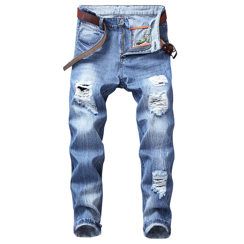 High Street Fashion Mens Ripped Jeans Blue Color Destroy Jeans Broken Night Club Style Ankle Length Punk Pants Hip Hop Jeans Men