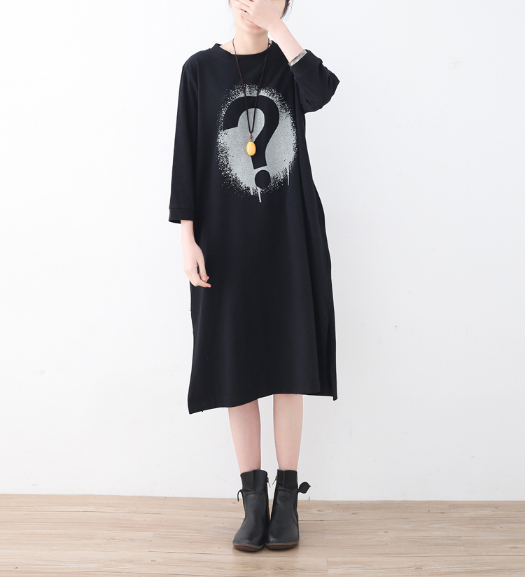 2018 Spring Casual Loose Black Question Mark Picture Print Robe Soft Comfortable Cotton Midi O Neck Women Dresses