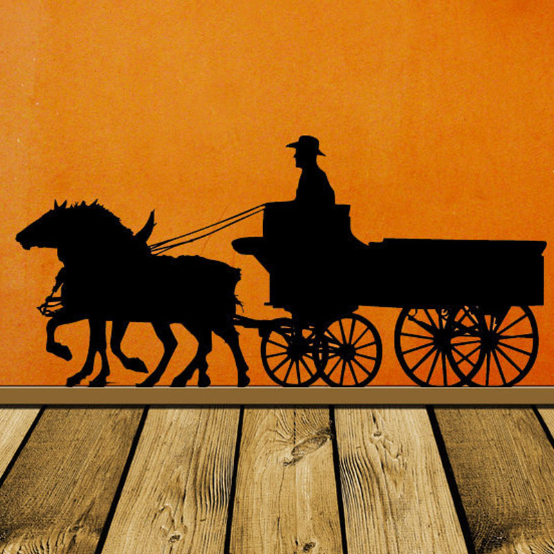Pioneer Horse Decor, Wagon, Old West, Western, Wall Decal, Stage Coach, Cowboy Wall vinyl Sticker Home, Office Decor LR47