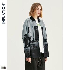 Image 4 - INFLAITON 2019 FW Novos Homens Camisa Harajuku Hip Hop Men Manga Comprida Camisas de Impressão Digital Solto Fit Camisa Homens Casuais marca 92139W