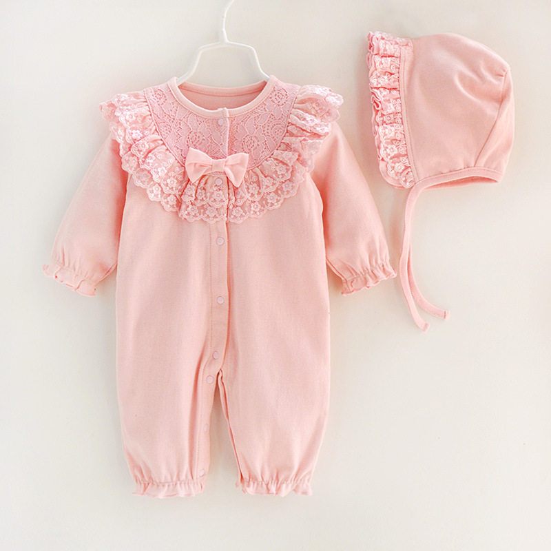 Baby Girl Romper Spring Autumn Newborn Infant Lace Floral Toddler Rompers Suits Jumpsuit Long Sleepsuit Baby Clothes With Hood autumn winter baby girl rompers striped cute infant jumpsuit ropa long sleeve thicken cotton girl romper hat toddler clothes